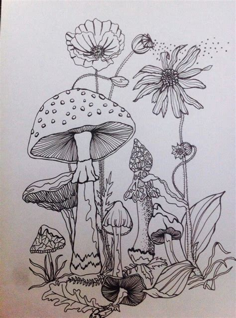 flowers  mushrooms forrest drawing mushroom drawing moon drawing