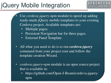 Cordova Template Npm by Apache Cordova In Action