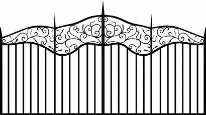 Fence Iron Clipart Vector Gate Wrought Cartoon