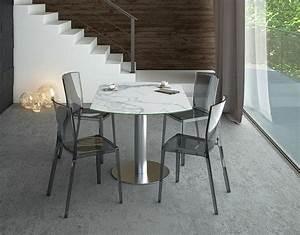 Table En Acier : table de repas luna c ramique marbre mat acier inoxydable bross 90 135x135x76 cm dt018ma ~ Teatrodelosmanantiales.com Idées de Décoration