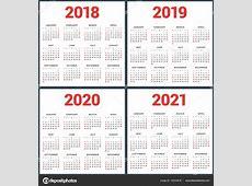 Conjunto de calendários para 2018, 2019, 2020, 2021 anos