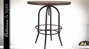 Table Bar Industriel : table bar ronde de style industriel en bois et m tal int rieurs styles ~ Teatrodelosmanantiales.com Idées de Décoration