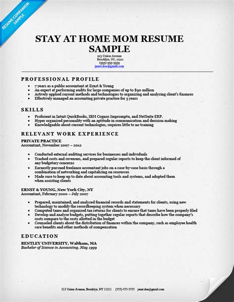 Stay At Home Resume Experience stay at home resume sle writing tips resume companion