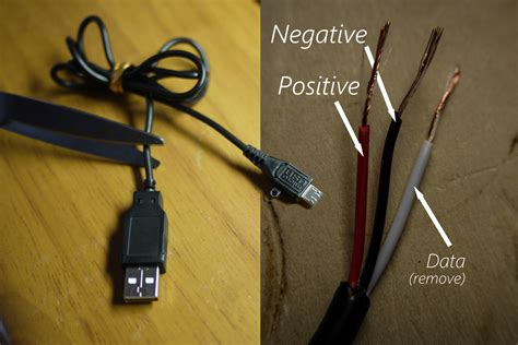 micro usb inner wire colors positive negative data