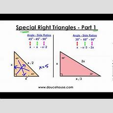 Special Right Triangles  Part 1 (454590 And 306090) Youtube