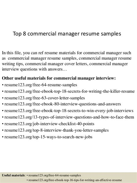 top 8 commercial manager resume sles