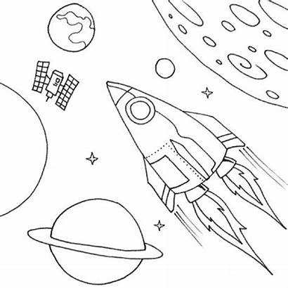 Coloring Pages Space Rocket Shuttle Printable Ship