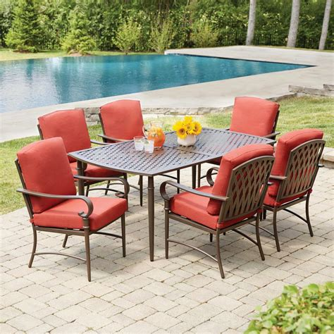 outdoor ls home depot hton bay oak cliff 7 piece metal outdoor dining set