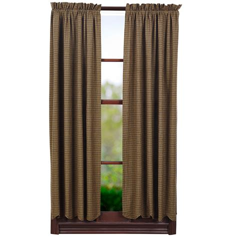 tea cabin green plaid lined scalloped curtain panels