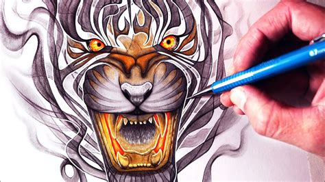 lets draw  smoke tiger fantasy art friday youtube