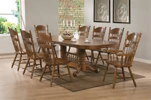 Country Dining Room Sets 9 Pc Country Oak Wood Dining Room Set Pedestal Base 18 Quot Leaf 104271 Contemporary Dining Sets