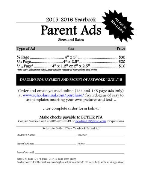yearbook sales ads butler elementary pta