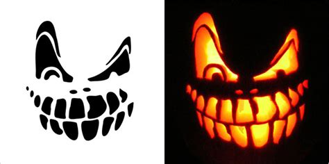Halloween Scary Pumpkin Carving Stencils Free Vector In