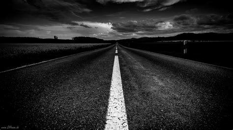 monochrome road  distance black  white hd wallpaper
