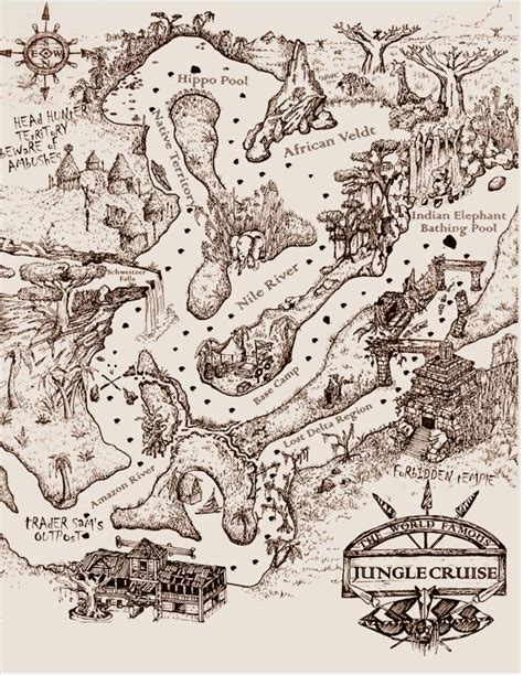 jungle cruise map vintage disney disneyland disney