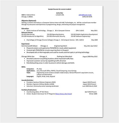 internship resume template  samples examples