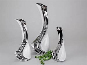 Deko Weiß Silber : moderne deko vase blumenvase aus keramik weiss silber h he 43 cm lifestyle more ~ Sanjose-hotels-ca.com Haus und Dekorationen