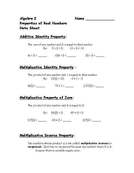 properties of real numbers worksheet for 9th grade
