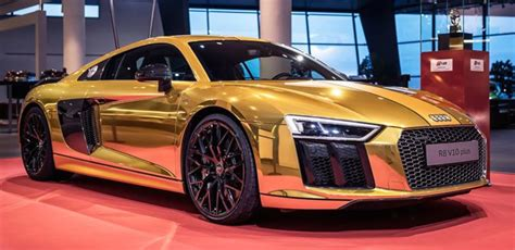 audi r8 gold one off gold audi r8 v10 plus on display in germany