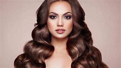 Makeup Brunette Woman Hair Curly Background 4k