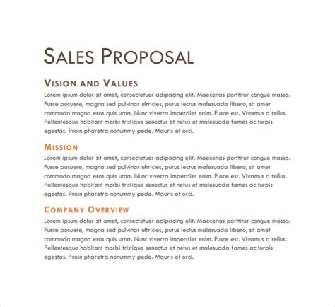sample sales proposal templates  word psd