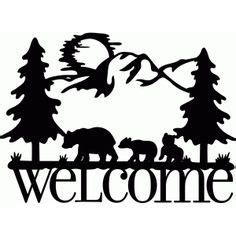 sign bear family black bears scherenschnitt
