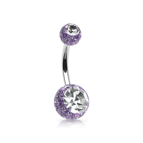 glitter belly bar stud urban piercing shop
