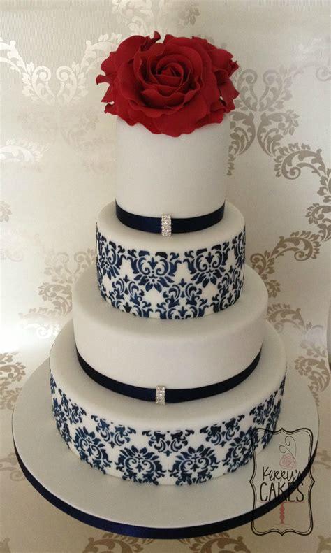 Red Rose And Navy Damask Wedding Cake