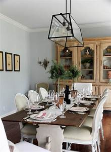 Farmhouse Style Dining Table And Chairs With White Armless ...