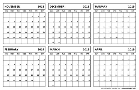 months   page template  calendar printable