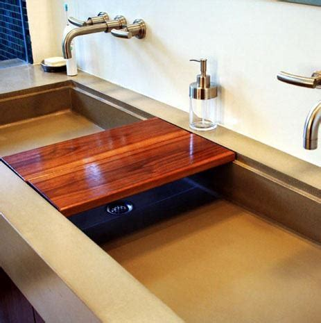 concrete sink kitchen sliding board sinks concrete 2434