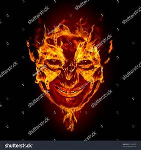 Fire Devil Face On Black Background Stock Illustration ...