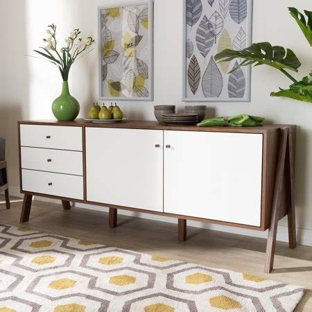 White And Walnut Sideboard by Willow White And Walnut Sideboard By Bellamy Studios