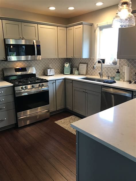 Our new kitchen! Stone gray Aristokraft cabinets, Brave