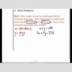 Solving Elimination Word Problem Youtube