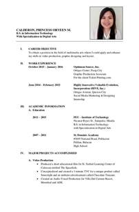 formal resume calderon