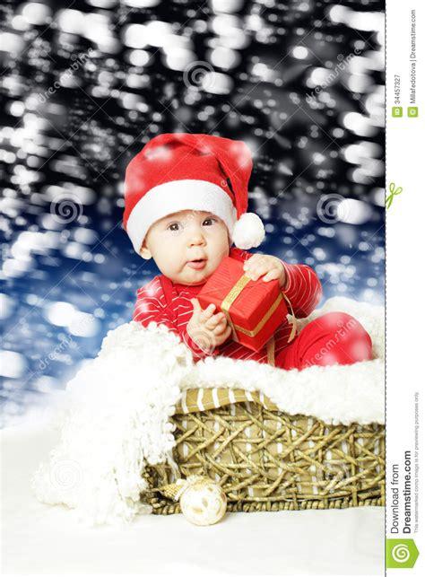 Cute Baby With  Ee  Christmas Ee    Ee  Gift Ee   Royalty Free