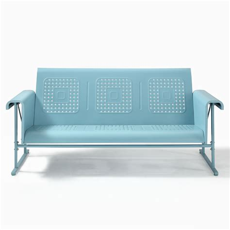 shop crosley furniture light blue steel patio glider at