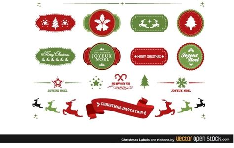 Christmas Labels And Ribbons  Ee  Free Ee   Vector