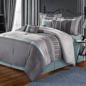 Euphoria, Grey, Comforter, Bed, In, A, Bag, Set, 12, Piece