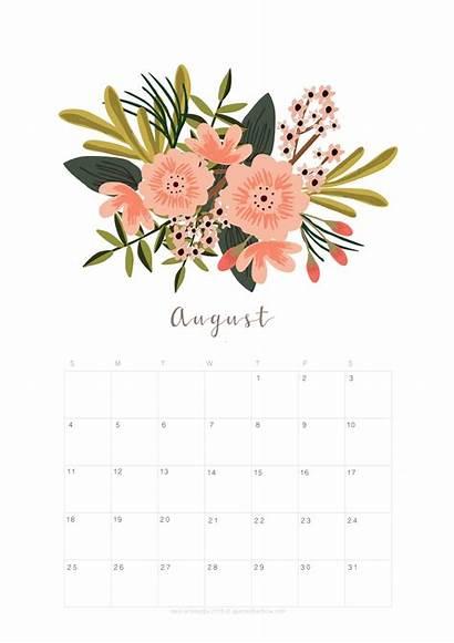Calendar Printable August Planner Floral Monthly Flower