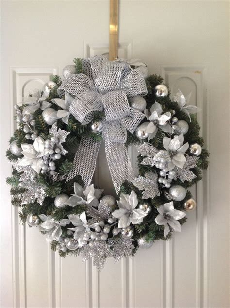 silver christmas wreath christmas or winter wreaths
