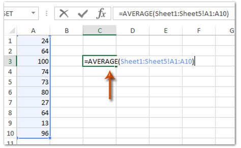 how to calculate average cells from different sheets in excel
