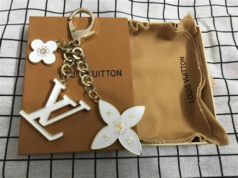 louis vuitton metal leather fleur de monogram bag charm key chain crafteza