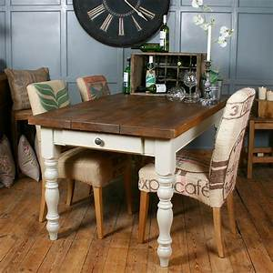Solid wood vintage farmhouse table by hf for Deco cuisine avec chaise blanche et noir