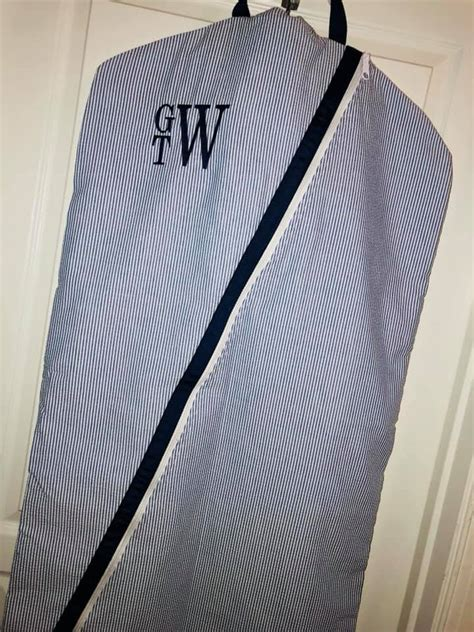 monogram garment bag seersucker garment bag mint  mint