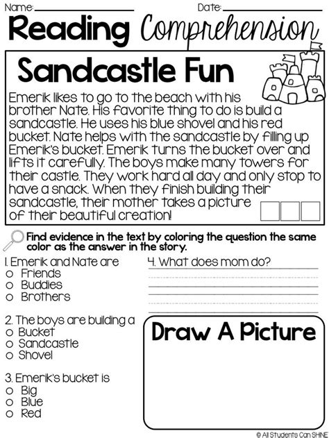 Text Comprehension Activities  Kidz Activities