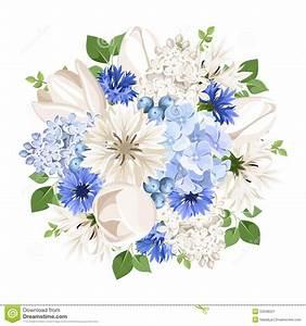 Bouquet Fleurs Blanches : bouquet des fleurs blanches et bleues illustration de ~ Premium-room.com Idées de Décoration