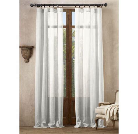 open weave sheer linen drapery in optic white