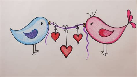 valentines day diy   draw love birds holding hearts